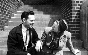 Fall 1940 - My father and his mother sitting on steps at the University of Minnesota