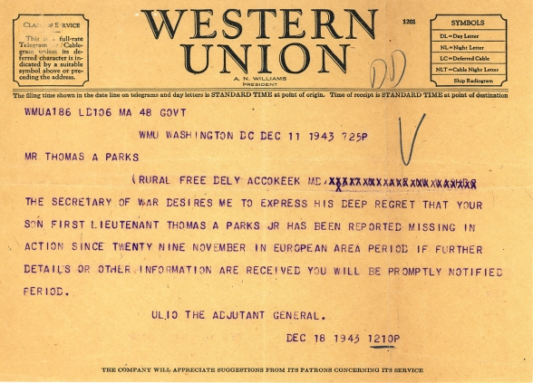 Telegram from December 11, 1943. Your son is Missing in Action.