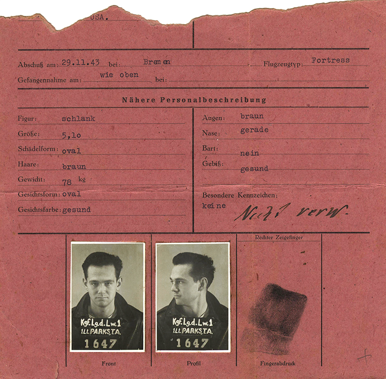 A torn registration card Lt. Parks rescued from the POW camp offices after the Germans departed