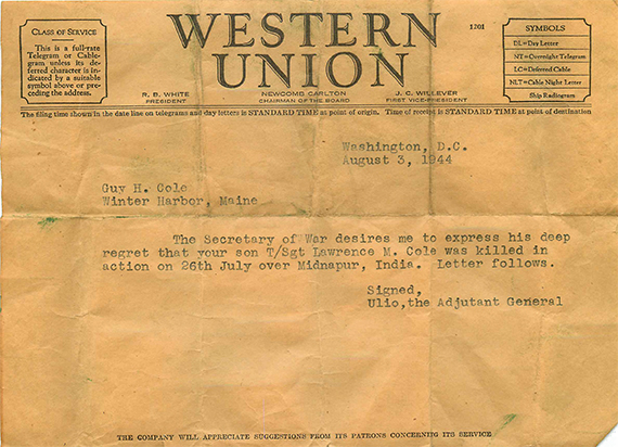 1944-08-03 Lawrence Cole Telegram