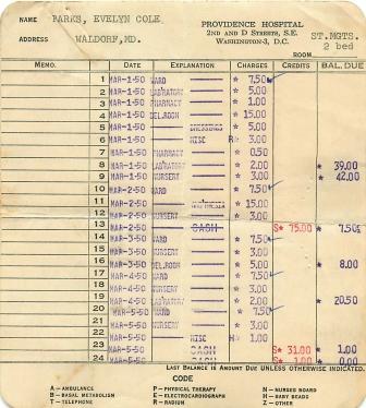 1950-03-05 Hospital Bill