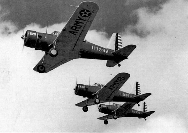 1943-bainbridge_army_airfield_-_vultee_bt-13_valiants_three-ship_formation_flight