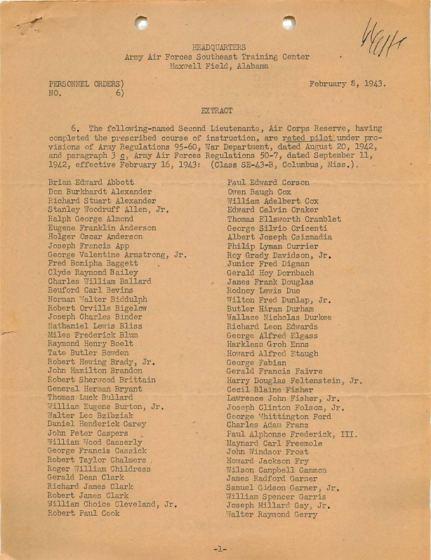 1943-02-06 Orders Page 1 copy