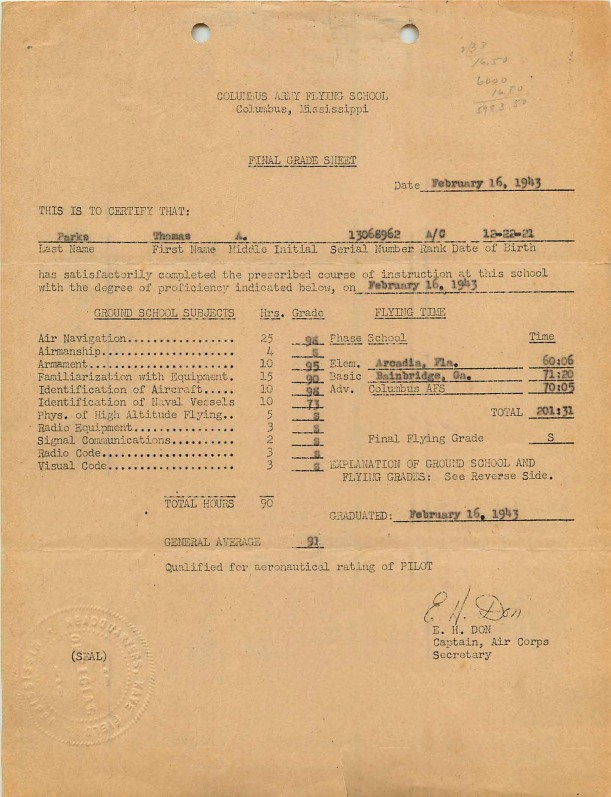 Pages from 1943-02-16 Final Grade Sheet